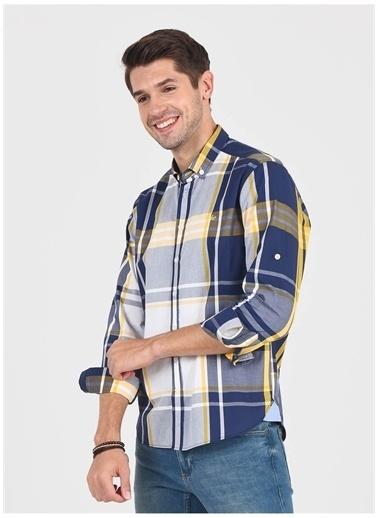 UCLA Ucla Aptos Düğmeli Yaka Kare Dersenli Sarı Erkek Gömlek Sarı